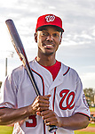 28 February 2016: Washington Nationals outfielder Michael Taylor poses for his Spring Training Photo-Day portrait at Space Coast Stadium in Viera, Florida. Mandatory Credit: Ed Wolfstein Photo *** RAW (NEF) Image File Available ***