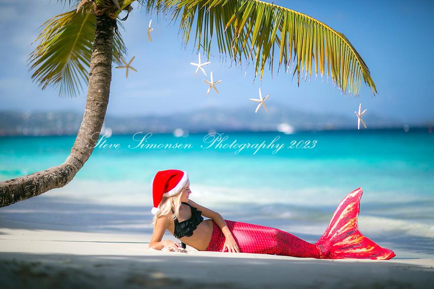 Christmas mermaid<br /> Salomon Beach<br /> St. John<br /> US Virgin Islands