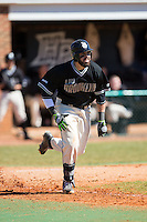 Mark Hernandez (16) of the LIU-Brooklyn Blackbirds hustles down the first base line against the High Point Panthers at Willard Stadium on March 8, 2015 in High Point, North Carolina.  The Panthers defeated the Blackbirds 9-0.  (Brian Westerholt/Four Seam Images)