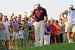 Lee Westwood takes a penalty drop at the 18th green during the Final Day of the Dubai World Championship, Earth Course, Jumeirah Golf Estates, Dubai, 28th November 2010..(Picture Eoin Clarke/www.golffile.ie)