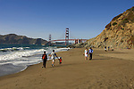 San Francisco: Baker Beach with Golden Gate Bridge in background.  Photo # 2-casanf83413.  Photo copyright Lee Foster