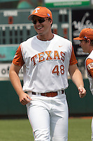 Texas Longhorns pitcher Sam Shaw #48 smiles before the NCAA baseball game against the Texas A&M Aggies on April 29, 2012 at UFCU Disch-Falk Field in Austin, Texas. The Longhorns beat the Aggies 2-1 in the last ever regular season game scheduled for the long time rivals. (Andrew Woolley / Four Seam Images)