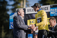 new GC leader Egan Bernal (COL/SKY) getting his yellow jersey handed by non other than Eddy Merckx<br /> <br /> Stage 7: Nice to Col de Turini (181km)<br /> 77th Paris - Nice 2019 (2.UWT)<br /> <br /> ©kramon