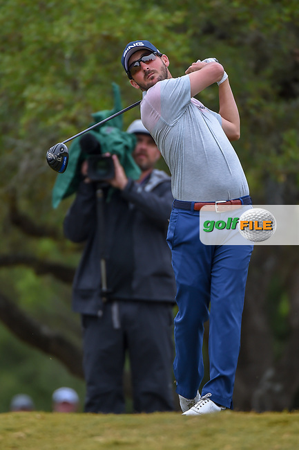 Andrew Landry (USA) watches his tee shot on 2 during Round 3 of the Valero Texas Open, AT&T Oaks Course, TPC San Antonio, San Antonio, Texas, USA. 4/21/2018.<br /> Picture: Golffile | Ken Murray<br /> <br /> <br /> All photo usage must carry mandatory copyright credit (© Golffile | Ken Murray)