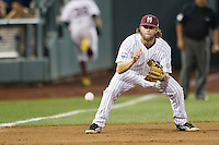 Mississippi State third baseman Alex Detz (3) fields a ground ball during Game 1 of the 2013 Men's College World Series Finals against the UCLA Bruins on June 24, 2013 at TD Ameritrade Park in Omaha, Nebraska. The Bruins defeated the Bulldogs 3-1, taking a 1-0 lead in the best of 3 series. (Andrew Woolley/Four Seam Images)