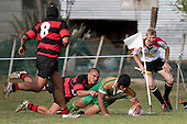 Halaloua Tupou dives over in the corner to score Drury's fifth try. Counties Manukau Premier Club Rugby Game of the Week between Drury & Papakura, played at Drury Domain on Saturday Aprill 11th, 2009..Drury won 35 - 3 after leading 15 - 5 at halftime.
