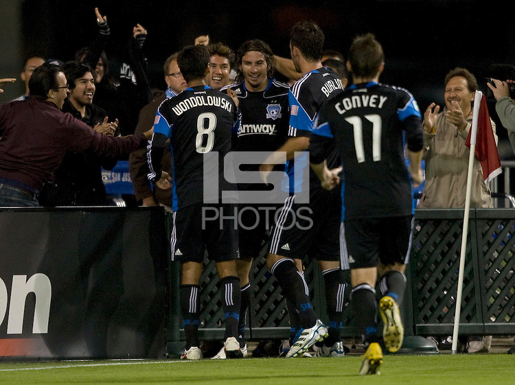 Alan Gordon of Earthquakes celebrates with teammates after scoring a goal during the game against the Timbers at Buck Shaw Stadium in Santa Clara, California on August 6th, 2011.   San Jose Earthquakes and Portland Timbers tied 1-1.