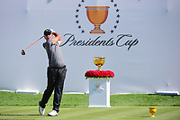 Hideki Matsuyama (JPN) watches his tee shot on 1 during round 4 Singles of the 2017 President's Cup, Liberty National Golf Club, Jersey City, New Jersey, USA. 10/1/2017. <br /> Picture: Golffile | Ken Murray<br /> <br /> All photo usage must carry mandatory copyright credit (&copy; Golffile | Ken Murray)