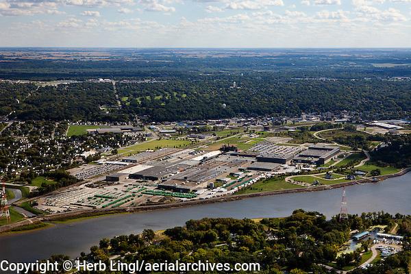 aerial photograph John Deere Harvester Works factory, East Moline, Illinois