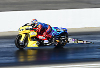 Nov. 10, 2012; Pomona, CA, USA: NHRA pro stock motorcycle rider John Hall during qualifying for the Auto Club Finals at at Auto Club Raceway at Pomona. Mandatory Credit: Mark J. Rebilas-