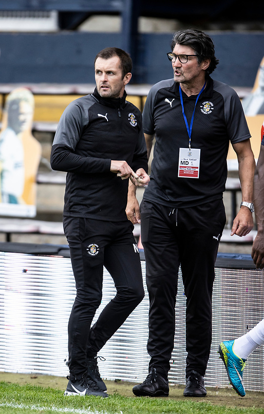 Preston North End's Alex Neil (left) and chief recruitment officer Mick Harford (right) <br /> <br /> Photographer Andrew Kearns/CameraSport<br /> <br /> The EFL Sky Bet Championship - Luton Town v Preston North End - Saturday 20th June 2020 - Kenilworth Road - Luton<br /> <br /> World Copyright © 2020 CameraSport. All rights reserved. 43 Linden Ave. Countesthorpe. Leicester. England. LE8 5PG - Tel: +44 (0) 116 277 4147 - admin@camerasport.com - www.camerasport.com