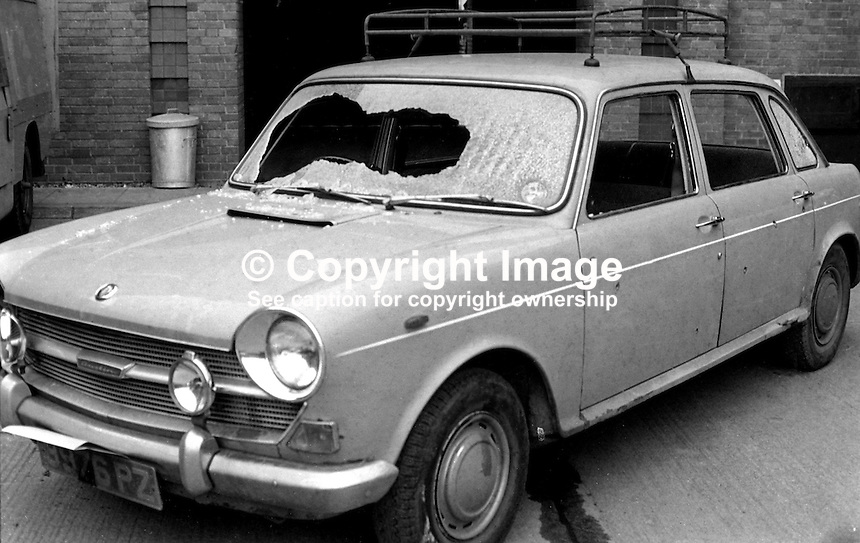 The bullet-riddled car in which Rory Gormley, 14 years, Roman Catholic, died in a UVF gun attack on his father's car as be was being taken to St Malachy's College.  His father, Dr Peter Gormley, a leading eye surgeon, who worked in the Mater Hospital, was also injured as was a brother of Rory's and another boy.  The Gormley family from South Belfast were taking a short cut across the loyalist Shankill Road, Belfast, N Ireland. It is believed the car was targeted because of the St Malachy's school uniforms. At the inquest it was revealed that one of gunmen was aged about 15 years, just a year older than his victim. 197211270759c<br />