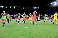 ORLANDO, FL - NOVEMBER 15: USMNT salutes the fans after their 4-1  victory over Canada during a game between Canada and USMNT at Exploria Stadium on November 15, 2019 in Orlando, Florida.