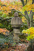 Stone japanese lantern ornament in autumn at Marin Art and Garden Center