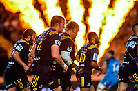The Highlanders run back for a restart after an Ihaia West penalty kick during the Super Rugby match between the Blues and Highlanders at Eden Park in Auckland, New Zealand on Saturday, 11 March 2017. Photo: Dave Lintott / lintottphoto.co.nz