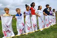 Children prepare for a sac race during a holiday party at Berewick master-planned community in southwest Mecklenburg County, Charlotte, NC. The property is developed by Pappas Properties.