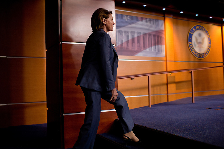 UNITED STATES - MAY 14: House Minority Leader Nancy Pelosi, D-Calif., arrives for her weekly news conference in the Capitol Visitor Center, May 14, 2015. (Photo By Tom Williams/CQ Roll Call)