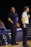 Saints coach Pero Cameron queries a decision during the national basketball league match between Wellington Saints and Taranaki Mountain Airs at TSB Bank Arena, Wellington, New Zealand on Friday, 17 April 2015. Photo: Dave Lintott / lintottphoto.co.nz