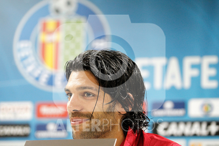 Getafe's Angel Lafita in press cenference after La Liga match.November 18,2012. (ALTERPHOTOS/Acero)