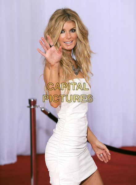 MARISSA MILLER.Arrivals at the 52nd Annual GRAMMY Awards held at The Staples Center in Los Angeles, California, USA..January 31st, 2010.grammys half length white strapless dress hand palm waving  side .CAP/RKE/DVS.©DVS/RockinExposures/Capital Pictures