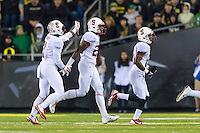 EUGENE, OR - NOVEMBER 1, 2014:  Alex Carter celebrates with teammates during Stanford's game against Oregon. The Ducks defeated the Cardinal 45-16.