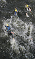 11 AUG 2007 - NOTTINGHAM, UK - Competitors dive into the water after tagging - British Club Relay Triathlon Championships. (PHOTO (C) NIGEL FARROW)