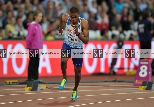 Zharnel HUGHES (GBR) in the mens 200m heats. IAAF world athletics championships. London Olympic stadium. Queen Elizabeth Olympic park. Stratford. London. UK. 07/08/2017. ~ MANDATORY CREDIT Garry Bowden/SIPPA - NO UNAUTHORISED USE - +44 7837 394578