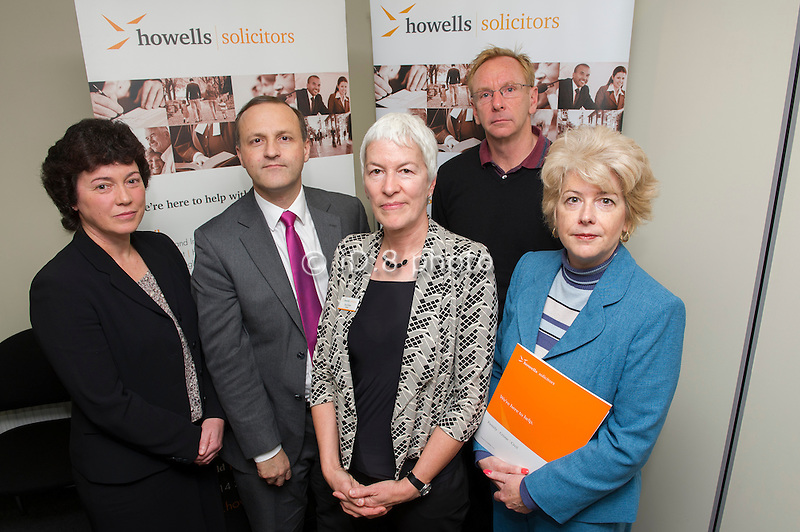 L-R Cathy Urwin (Family Mediation Yorkshire), Steve Webb MP, Minister of State for Pensions, Sue Colven (Deputy Managing Partner Howells), Brian Thorton (Solution Focus, Sheffield) and Alyson Siddall (Partner and Head of the Family Team, Howells)
