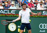 Giles Simon (FRA) during his round of 16 match against Rafael Nadal (ESP). Nadal dispatched Simon with a score of 62 64 at the BNP Parisbas Open in Indian Wells, CA on March 18, 2015.