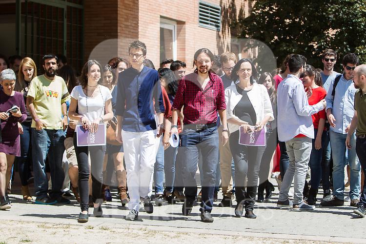 Pablo Iglesias, Inigo Errejon,  Irene Montero, and Carolina Bescansa during the presentation of the electioneering of Unidos Podemos. Jun 2,2016. (ALTERPHOTOS/Rodrigo Jimenez)