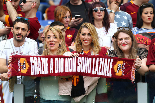 03.04.2016. Stadium Olimpico, Rome, Italy.  Serie A football league. Derby Match SS Lazio versus AS Roma. Fans of As Roma