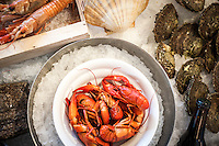 "Sweden's own Big Five: shrimp, oyster, crayfish, mussel, and lobster – are collectively known as ""skaldjur"" in Swedish."