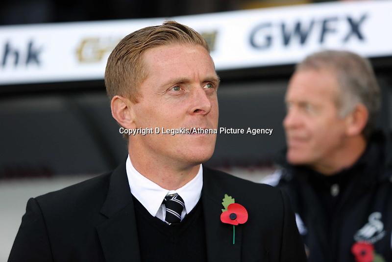 Sunday 09 November 2014 <br /> Swansea manager Garry Monk<br /> Barclays Premier League, Swansea City FC v Arsenal City at the Liberty Stadium, Swansea, Great Britain. EPA/Dimitris Legakis