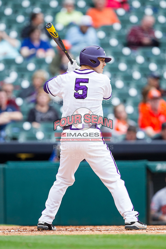 Derek Odell #5 of the Texas Christian Horned Frogs at bat against the Sam Houston State Bearkats at Minute Maid Park on February 28, 2014 in Houston, Texas.  The Bearkats defeated the Horned Frogs 9-4.  (Brian Westerholt/Four Seam Images)