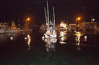 The fishing boat Lana Kila arrives at Honokohau Harbor with a grander (1,000-lb. or more marlin), Kailua-Kona, Hawai'i Island.