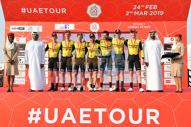 Team Jumbo-Visma win Stage 1 of the 2019 UAE Tour, a team time trial running 16km around Al Hudayriat Island, Abu Dhabi, United Arab Emirates. 24th February 2019.<br /> Picture: LaPresse/Massimo Paolone | Cyclefile<br /> <br /> <br /> All photos usage must carry mandatory copyright credit (© Cyclefile | LaPresse/Massimo Paolone)