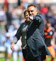 Sheffield Wednesday manager Carlos Carvalhal waves to the fans at the end of the match<br /> <br /> Photographer Andrew Vaughan/CameraSport<br /> <br /> The EFL Sky Bet Championship Play-Off Semi Final First Leg - Huddersfield Town v Sheffield Wednesday - Saturday 13th May 2017 - The John Smith's Stadium - Huddersfield<br /> <br /> World Copyright &copy; 2017 CameraSport. All rights reserved. 43 Linden Ave. Countesthorpe. Leicester. England. LE8 5PG - Tel: +44 (0) 116 277 4147 - admin@camerasport.com - www.camerasport.com