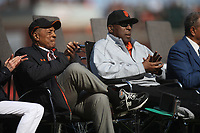 SAN FRANCISCO, CA - AUGUST 11:  Former San Francisco Giants players Willie Mays and Willie McCovey watch during the ceremony to retire the #25 jersey of Barry Bonds before the game between the Pittsburgh Pirates and San Francisco Giants at AT&T Park on Saturday, August 11, 2018 in San Francisco, California. (Photo by Brad Mangin)