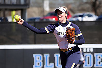 DURHAM, NC - FEBRUARY 29: Sarah Genz #2 of the University of Notre Dame throws the ball during a game between Notre Dame and Duke at Duke Softball Stadium on February 29, 2020 in Durham, North Carolina.