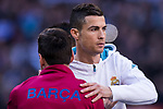 Cristiano Ronaldo of Real Madrid and Lionel Andres Messi of FC Barcelona hug each other prior to the La Liga 2017-18 match between Real Madrid and FC Barcelona at Santiago Bernabeu Stadium on December 23 2017 in Madrid, Spain. Photo by Diego Gonzalez / Power Sport Images