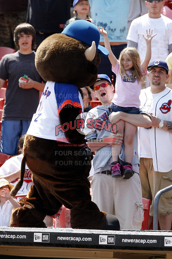 May 23, 2009:  Chip, the Buffalo Bisons mascot, entertains fans by throwing out souvenirs during the final out of a game at Coca-Cola Field in Buffalo, NY.  Photo by:  Mike Janes/Four Seam Images