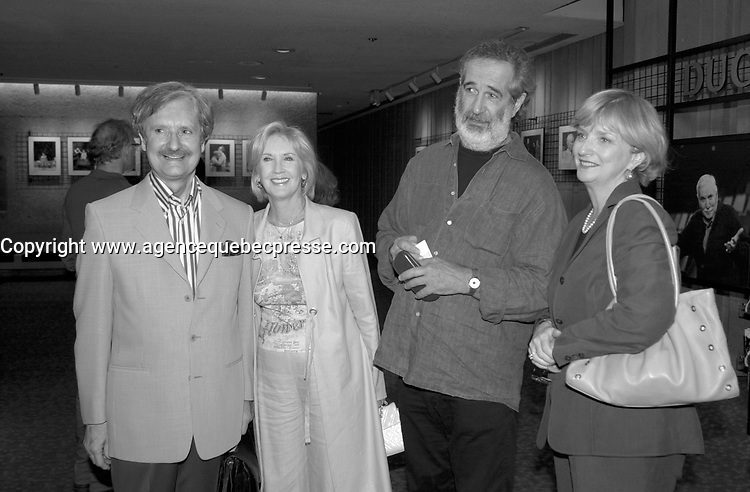 Sept 12 2003, Montreal, Quebec, CANADA<br /> <br /> Andree Lachapelle (M-L)  her husband Film Maker Andre Melancon (M-R) at the Jean Duceppe (theater troup)'s Premiere of LA MENAGERIE DE VERRE   SEpt 12 2003<br /> <br /> <br /> Photo by Pierre Roussel - Images Distribution<br /> (c) 2003, Pierre Roussel<br /> <br /> all our pcan be seen on www.photoreflect.com
