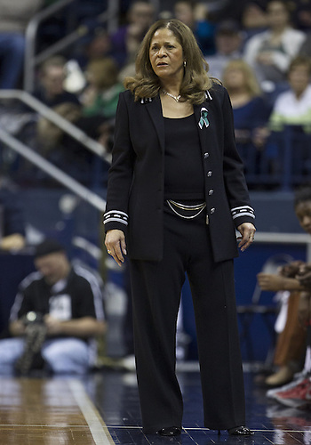 January 13, 2013:  Rutgers head coach C. Vivian Stringer during NCAA Basketball game action between the Notre Dame Fighting Irish and the Rutgers Scarlett Knights at Purcell Pavilion at the Joyce Center in South Bend, Indiana.  Notre Dame defeated Rutgers 71-46.
