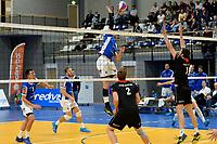 GRONINGEN - Volleybal, Lycurgus - Taurus, Supercup, seizoen 2018-2019, 29-09-2018,  Lycurgus speler Dennis Borst slaat de bal over het blok