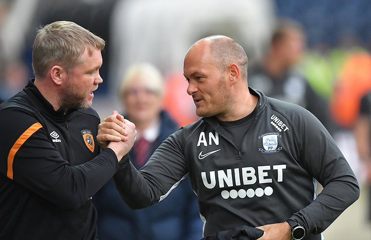 Preston North End's Manager Alex Neil shakes hands with Hull City's Manager Grant McCann<br /> <br /> Photographer Dave Howarth/CameraSport<br /> <br /> The Carabao Cup Second Round - Preston North End v Hull City - Tuesday 27th August 2019  - Deepdale Stadium - Preston<br />  <br /> World Copyright © 2019 CameraSport. All rights reserved. 43 Linden Ave. Countesthorpe. Leicester. England. LE8 5PG - Tel: +44 (0) 116 277 4147 - admin@camerasport.com - www.camerasport.com