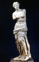 Greek Art:  Venus de Milo, detail.  Marble statue.  Louvre.