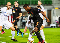 12th March 2020, TGW Arena, Pasching, Austria; UEFA Europa League football,  LASK versus Manchester United; Gernot Trauner and Dominik Reiter of LASK beaten by the run from Odion Ighalo Manchester United