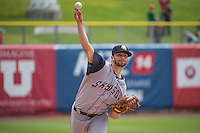 Tyler Thornburg (18) of the Colorado Springs Sky Sox warms up in the bullpen before the game against the Salt Lake Bees in Pacific Coast League action at Smith's Ballpark on May 24, 2015 in Salt Lake City, Utah.  (Stephen Smith/Four Seam Images)