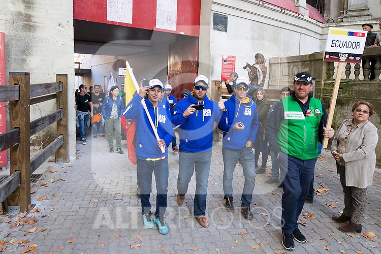 Ecuador enduro team during the presentation of the FIM international six days of enduro 2016 in Pamplona, Spain. October 09, 2016. (ALTERPHOTOS/Rodrigo Jimenez)