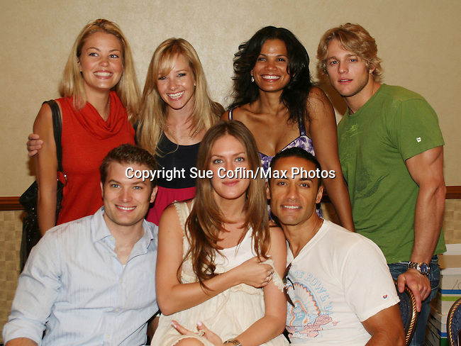 OLTL's Bree Williamson poses with Justis Bolding, January La Voy, Chase Coleman, Mark Lawson, BethAnn Bonner and Kamar de los Reyes at the One Life To Live Fan Club Luncheon on August 16, 2008 at the New York Marriott Marquis, New York, New York.  (Photo by Sue Coflin/Max Photos)